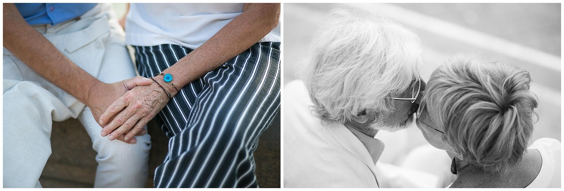 Detailfotos von einem verliebten älteren Paar